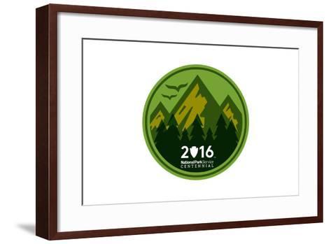 National Park Service Centennial - Mountains Round-Lantern Press-Framed Art Print