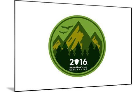 National Park Service Centennial - Mountains Round-Lantern Press-Mounted Art Print