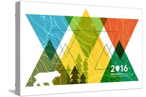 National Park Service Centennial - Triangles-Lantern Press-Stretched Canvas Print