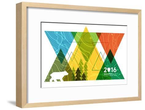 National Park Service Centennial - Triangles-Lantern Press-Framed Art Print
