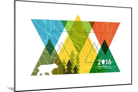National Park Service Centennial - Triangles-Lantern Press-Mounted Art Print