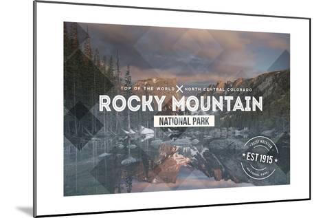 Rocky Mountain National Park - Rubber Stamp-Lantern Press-Mounted Art Print