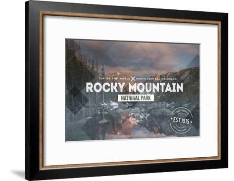 Rocky Mountain National Park - Rubber Stamp-Lantern Press-Framed Art Print
