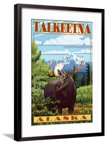 Talkeetna, Alaska - Moose Scene-Lantern Press-Framed Art Print