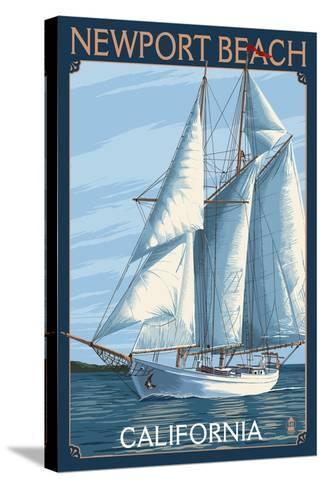 Newport Beach, California - Sailboat-Lantern Press-Stretched Canvas Print