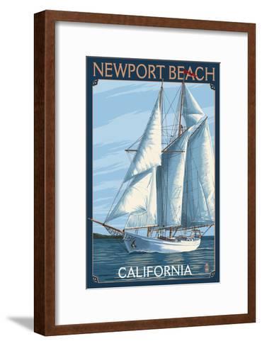 Newport Beach, California - Sailboat-Lantern Press-Framed Art Print