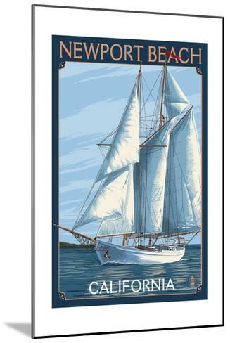 Newport Beach, California - Sailboat-Lantern Press-Mounted Art Print