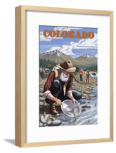 Colorado - Gold Panner-Lantern Press-Framed Art Print