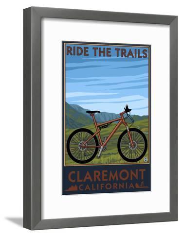 Claremont, California - Mountain Bike Scene-Lantern Press-Framed Art Print