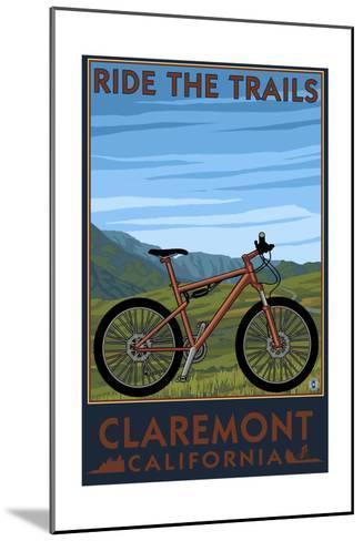 Claremont, California - Mountain Bike Scene-Lantern Press-Mounted Art Print