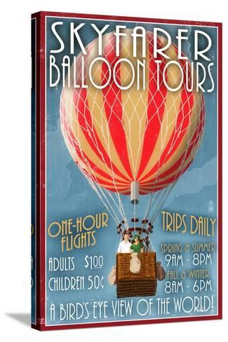 Hot Air Balloon Tours - Vintage Sign-Lantern Press-Stretched Canvas Print