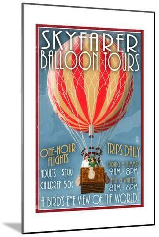 Hot Air Balloon Tours - Vintage Sign-Lantern Press-Mounted Art Print