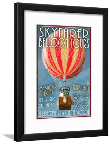 Hot Air Balloon Tours - Vintage Sign-Lantern Press-Framed Art Print