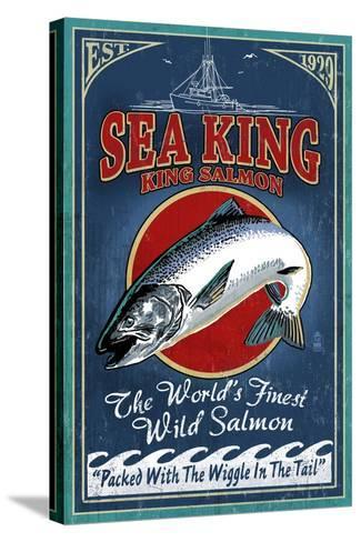 Salmon - Vintage Sign-Lantern Press-Stretched Canvas Print
