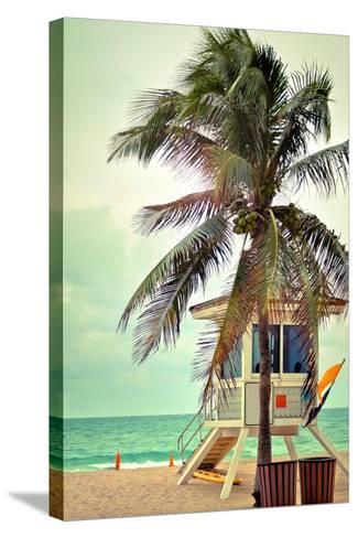 Lifeguard Shack and Palm-Lantern Press-Stretched Canvas Print