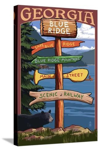Blue Ridge, Georgia - Destination Signpost-Lantern Press-Stretched Canvas Print