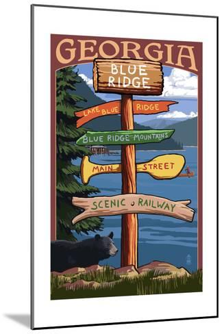 Blue Ridge, Georgia - Destination Signpost-Lantern Press-Mounted Art Print
