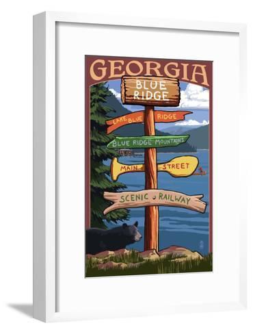 Blue Ridge, Georgia - Destination Signpost-Lantern Press-Framed Art Print