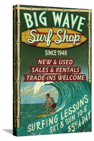 Surf Shop - Vintage Sign-Lantern Press-Stretched Canvas Print