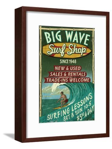 Surf Shop - Vintage Sign-Lantern Press-Framed Art Print