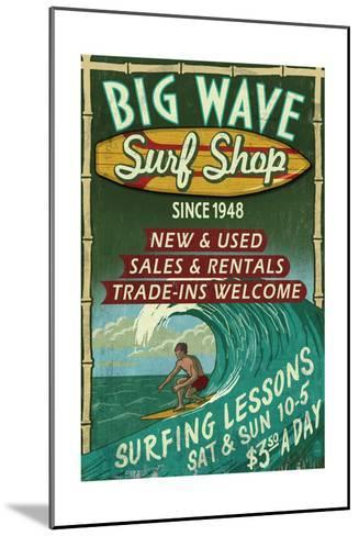 Surf Shop - Vintage Sign-Lantern Press-Mounted Art Print
