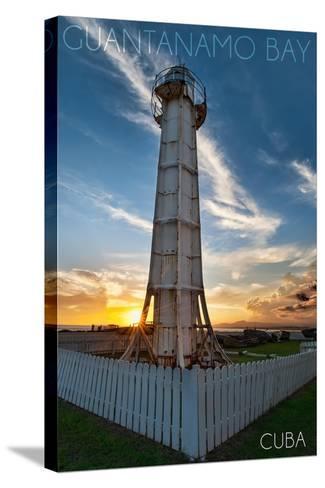 Guantanamo Bay, Cuba - Sunset and Lighthouse-Lantern Press-Stretched Canvas Print