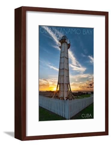 Guantanamo Bay, Cuba - Sunset and Lighthouse-Lantern Press-Framed Art Print