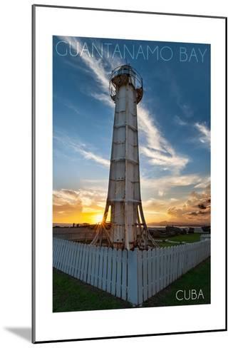 Guantanamo Bay, Cuba - Sunset and Lighthouse-Lantern Press-Mounted Art Print