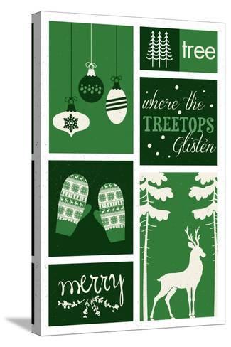 Christmas - Evergreens - Checkerboard-Lantern Press-Stretched Canvas Print