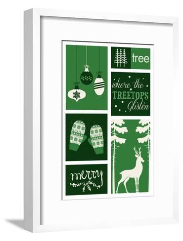 Christmas - Evergreens - Checkerboard-Lantern Press-Framed Art Print