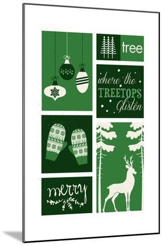Christmas - Evergreens - Checkerboard-Lantern Press-Mounted Art Print