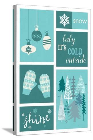 Christmas - Blue Snow - Checkerboard-Lantern Press-Stretched Canvas Print