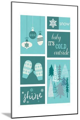 Christmas - Blue Snow - Checkerboard-Lantern Press-Mounted Art Print