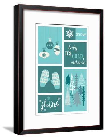 Christmas - Blue Snow - Checkerboard-Lantern Press-Framed Art Print