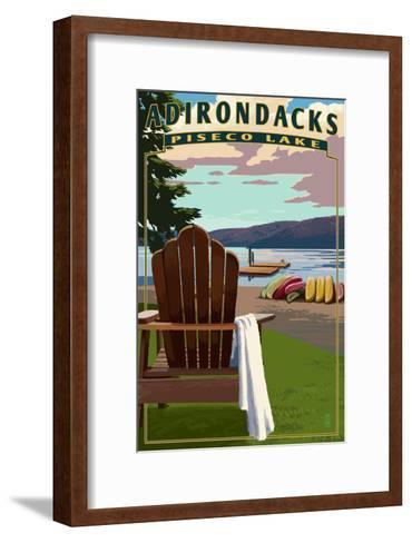 Adirondack Mountains, New York - Piseco Lake Adirondack Chair-Lantern Press-Framed Art Print