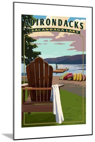 Adirondack Mountains, New York - Sacandaga Lake Adirondack Chair-Lantern Press-Mounted Art Print