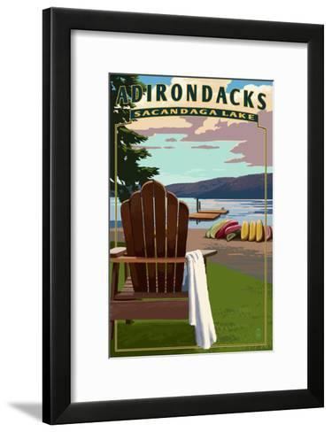 Adirondack Mountains, New York - Sacandaga Lake Adirondack Chair-Lantern Press-Framed Art Print