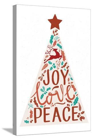 Joy Love Peace - Christmas Tree-Lantern Press-Stretched Canvas Print