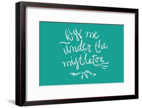 Kiss me under the mistletoe-Lantern Press-Framed Art Print