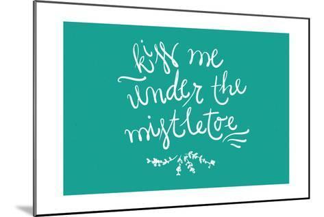 Kiss me under the mistletoe-Lantern Press-Mounted Art Print