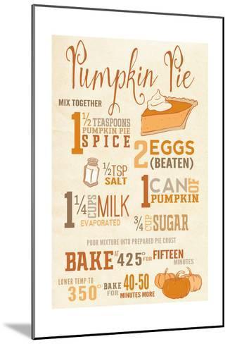 Pumpkin Pie Recipe-Lantern Press-Mounted Art Print