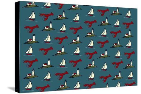 Pattern - Lobster, Lighthouse, Sailboat-Lantern Press-Stretched Canvas Print
