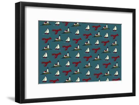 Pattern - Lobster, Lighthouse, Sailboat-Lantern Press-Framed Art Print
