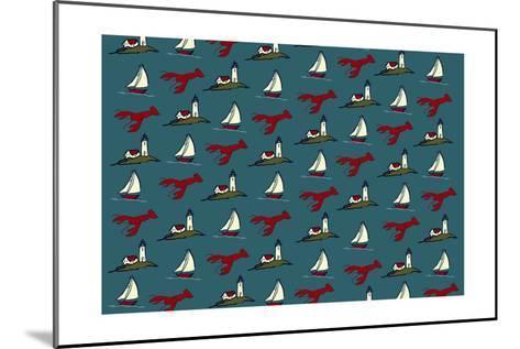 Pattern - Lobster, Lighthouse, Sailboat-Lantern Press-Mounted Art Print