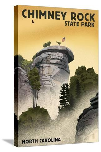 Chimney Rock State Park, North Carolina - Chimney Rock - Lithograph Style-Lantern Press-Stretched Canvas Print
