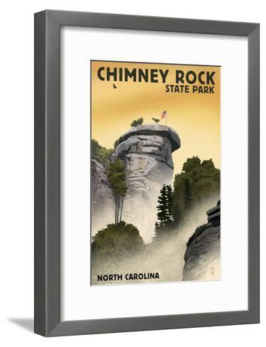 Chimney Rock State Park, North Carolina - Chimney Rock - Lithograph Style-Lantern Press-Framed Art Print