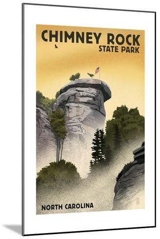 Chimney Rock State Park, North Carolina - Chimney Rock - Lithograph Style-Lantern Press-Mounted Art Print