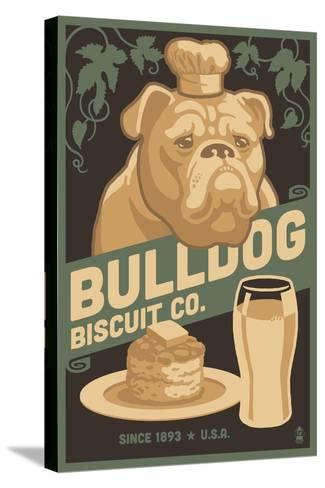Bulldog - Retro Bisquit Ad-Lantern Press-Stretched Canvas Print