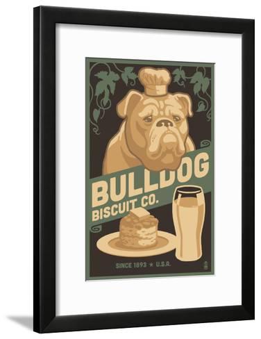 Bulldog - Retro Bisquit Ad-Lantern Press-Framed Art Print