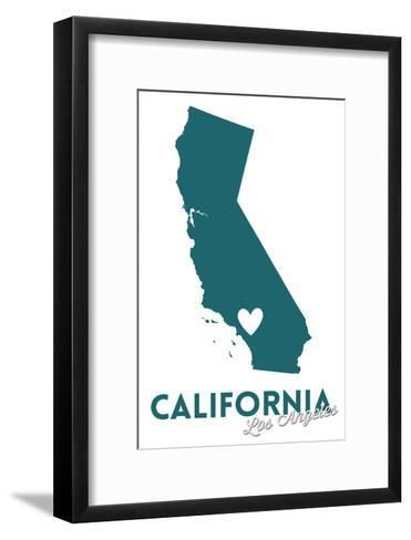 Los Angeles, California - State Outline and Heart (Dark Blue)-Lantern Press-Framed Art Print